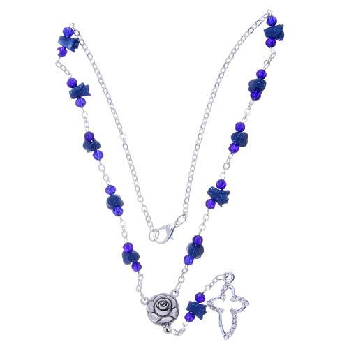 Collier chapelet Medjugorje bleu roses croix avec cristaux 3