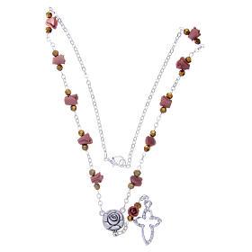 Collar rosario Medjugorje rosas cerámica marrón claro s3