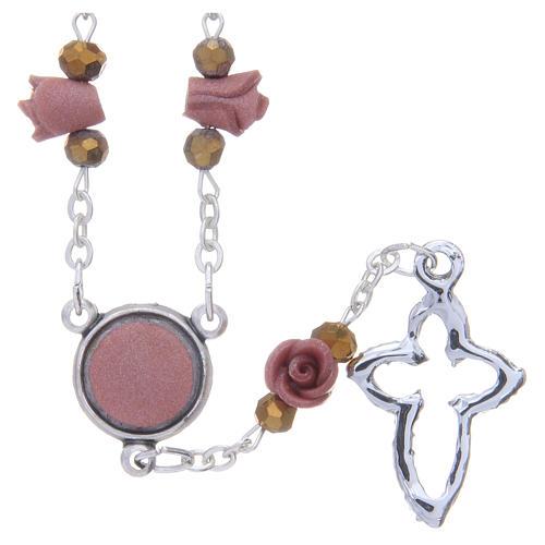 Collar rosario Medjugorje rosas cerámica marrón claro 2