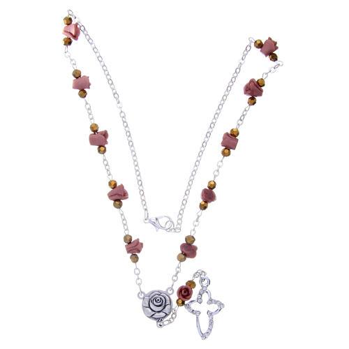 Collar rosario Medjugorje rosas cerámica marrón claro 3