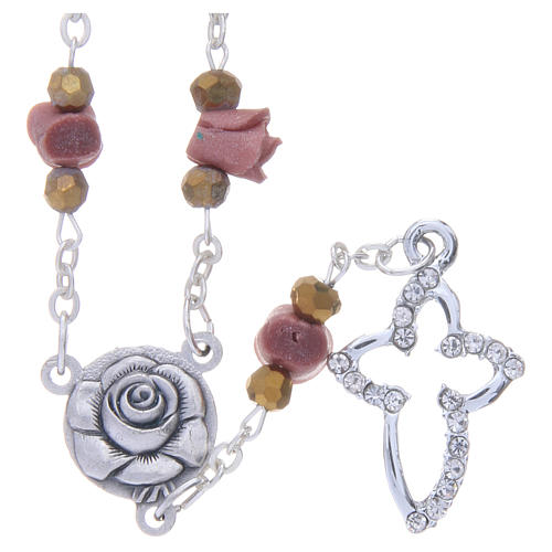 Collier chapelet Medjugorje roses céramique couleur châtaigne 1