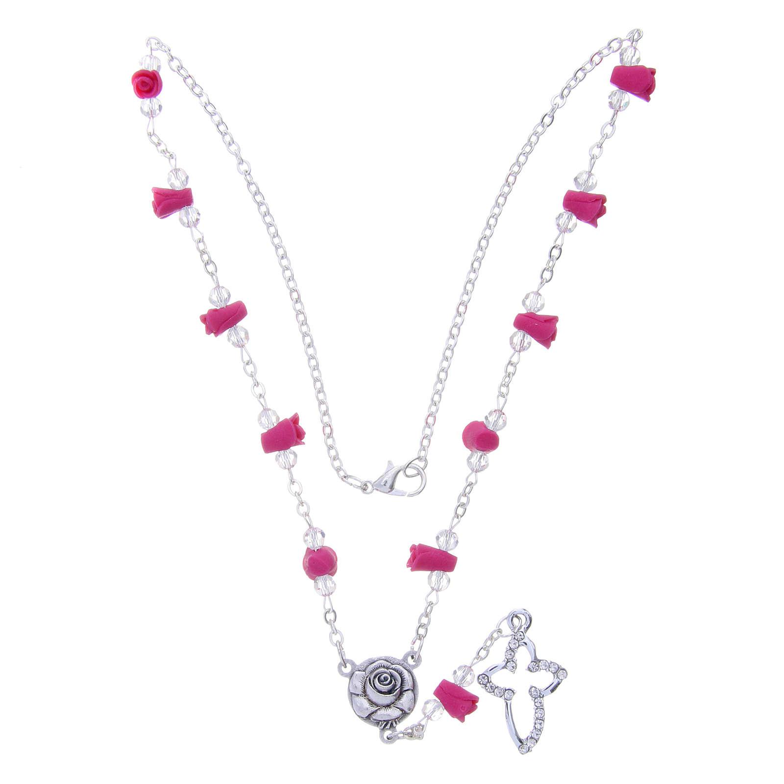 Collar rosario Medjugorje rosas fucsia cerámica cuentas cristal 4