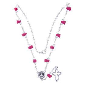 Collar rosario Medjugorje rosas fucsia cerámica cuentas cristal s3