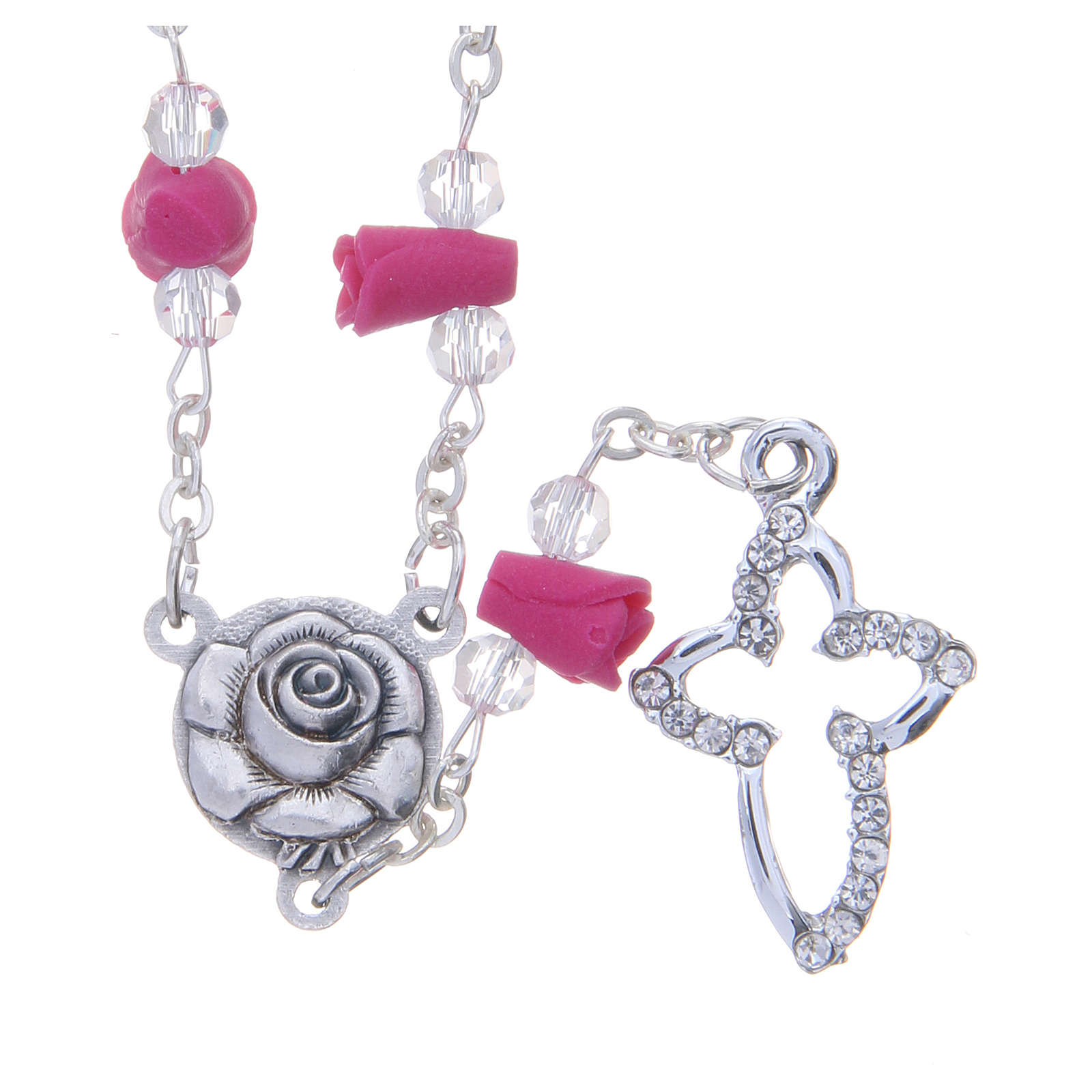 Collier chapelet Medjugorje fuchsia roses céramique grains cristal 4