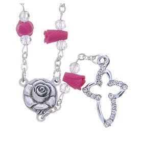 Chapelets et boîte chapelets: Collier chapelet Medjugorje fuchsia roses céramique grains cristal