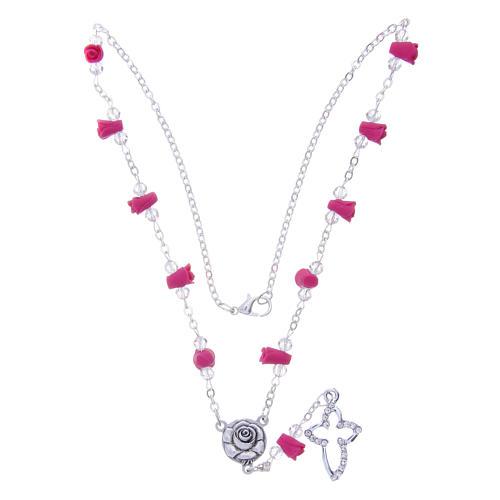 Collier chapelet Medjugorje fuchsia roses céramique grains cristal 3