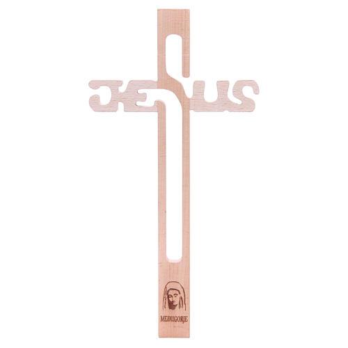 Croix Jésus Medjugorje en hêtre 1