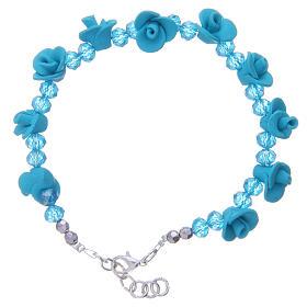 Bracelets, dizainiers: Bracelet Medjugorje turquoise avec roses céramique