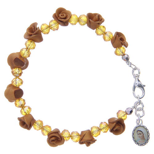 Medjugorje rosary bracelet, amber colour with crystal beads 1
