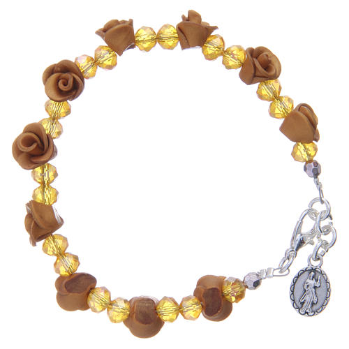 Medjugorje rosary bracelet, amber colour with crystal beads 2