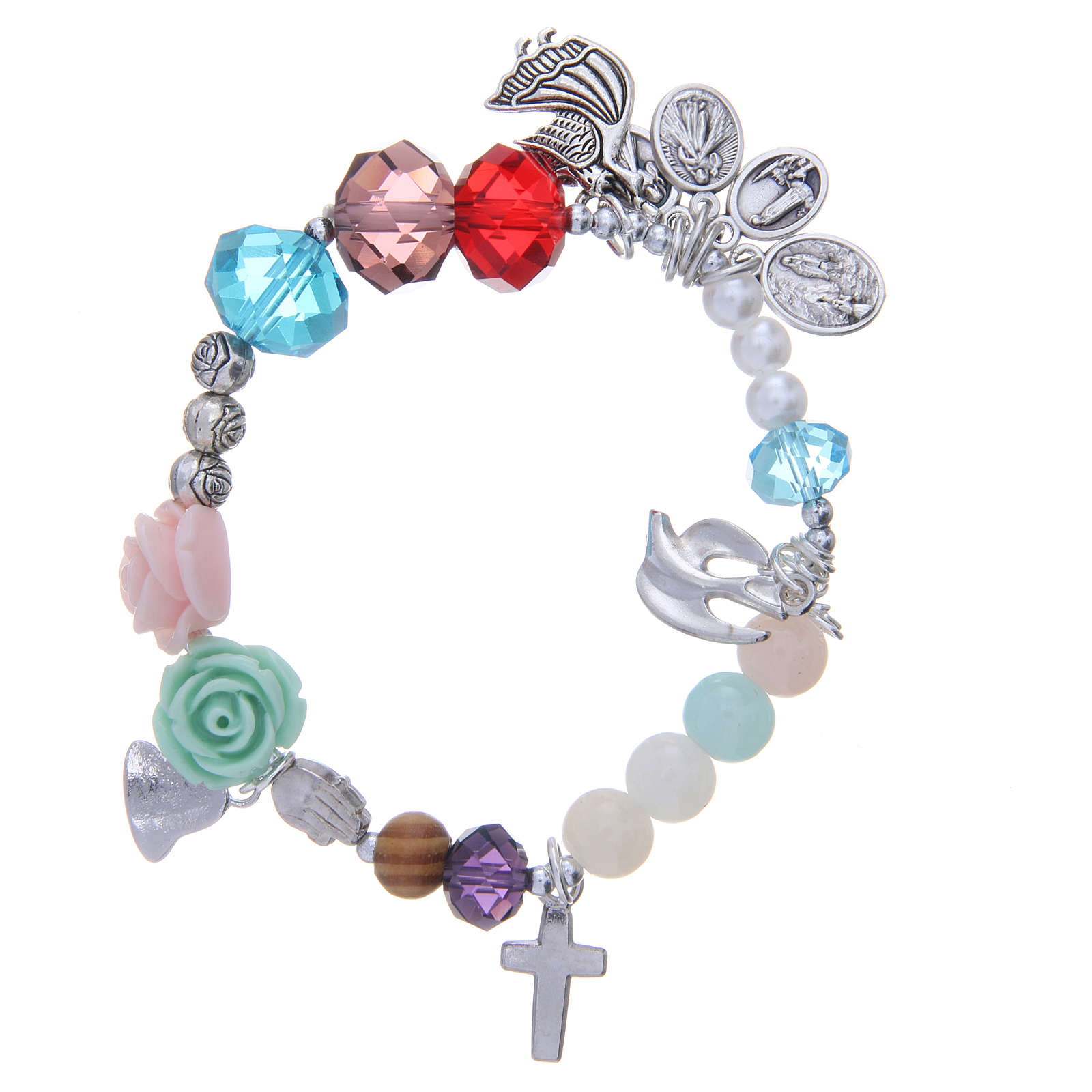 Medjugorje bracelet, life of Mary with multicoloured beads 4