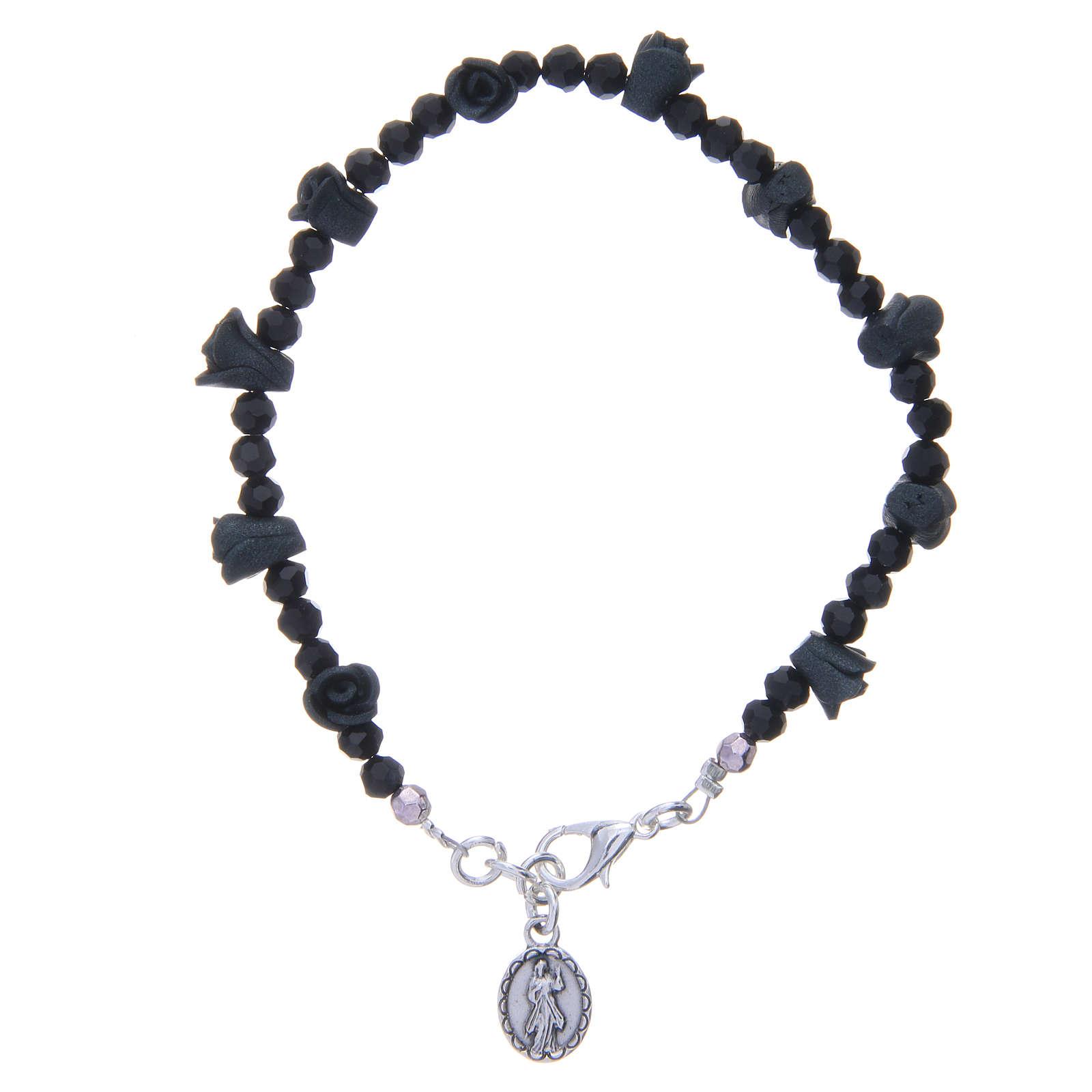 Bracelet chapelet Medjugorje roses noires 4