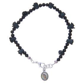 Bracelets, dizainiers: Bracelet chapelet Medjugorje roses noires