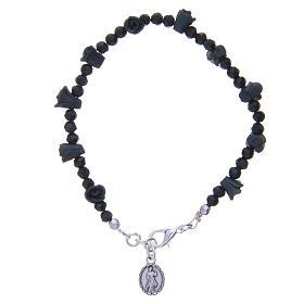 Bracelet chapelet Medjugorje roses noires s2