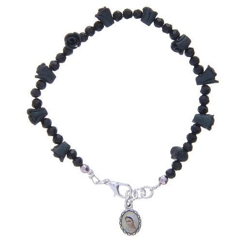 Bracelet chapelet Medjugorje roses noires 1
