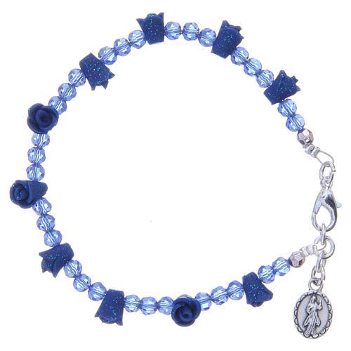Pulsera rosario Medjugorje cristales azul 2