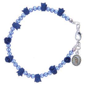 Bracelet chapelet Medjugorje cristaux bleus s1