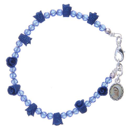 Bracelet chapelet Medjugorje cristaux bleus 1