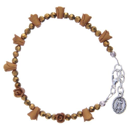Bracelet chapelet Medjugorje couleur ambre 2