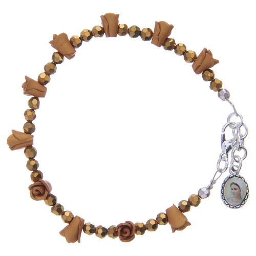 Bracciale rosario Medjugorje color ambra 1