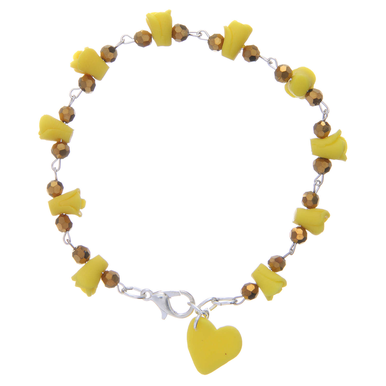 Medjugorje bracelet, yellow with crystal beads and ceramic hearts 4