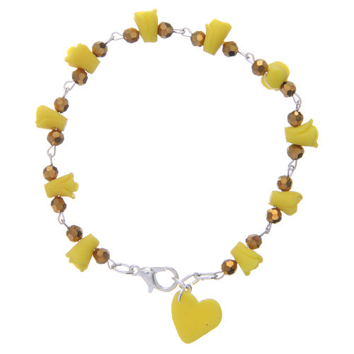 Medjugorje bracelet, yellow with crystal beads and ceramic hearts 2