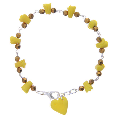Bracelet Medjugorje jaune roses et coeur céramique 1