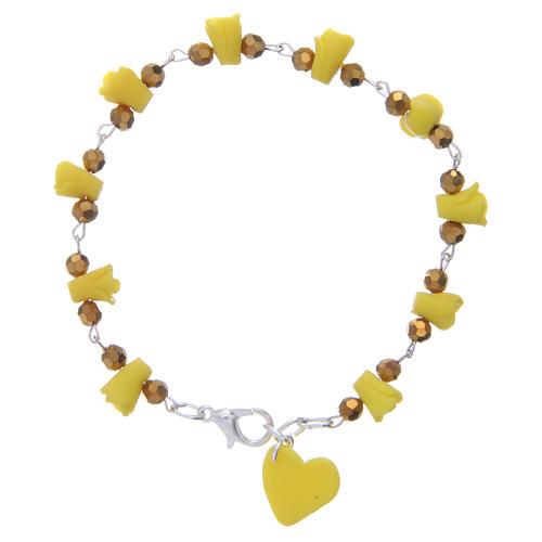 Bracelet Medjugorje jaune roses et coeur céramique 2
