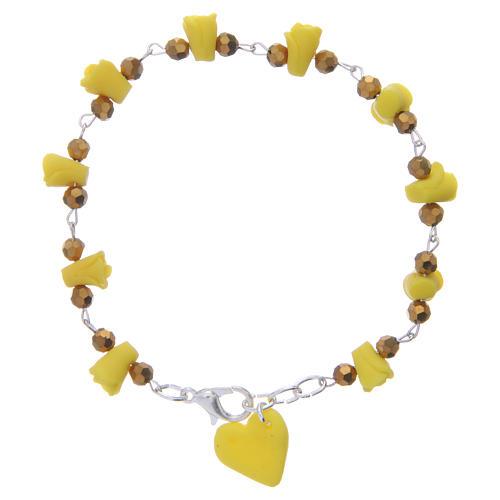 Bracciale Medjugorje giallo rose e cuore ceramica 1