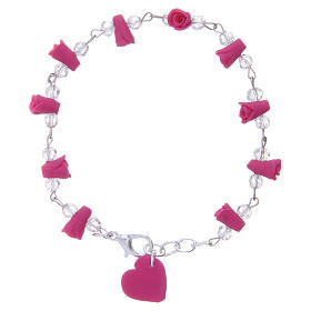 Medjugorje bracelet, fuchsia with crystal beads and ceramic hearts s1