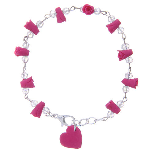 Medjugorje bracelet, fuchsia with crystal beads and ceramic hearts 1