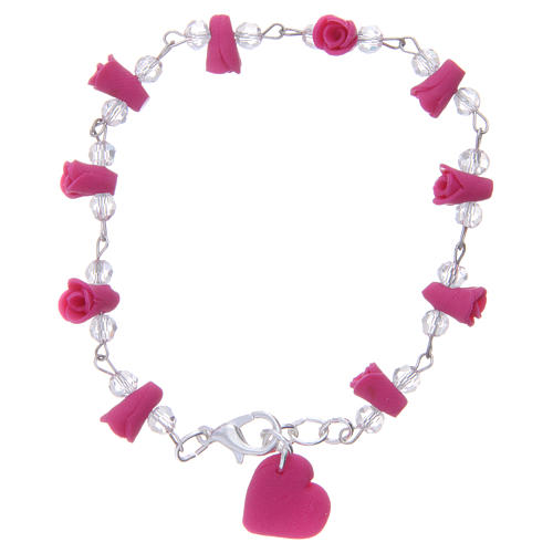 Medjugorje bracelet, fuchsia with crystal beads and ceramic hearts 2