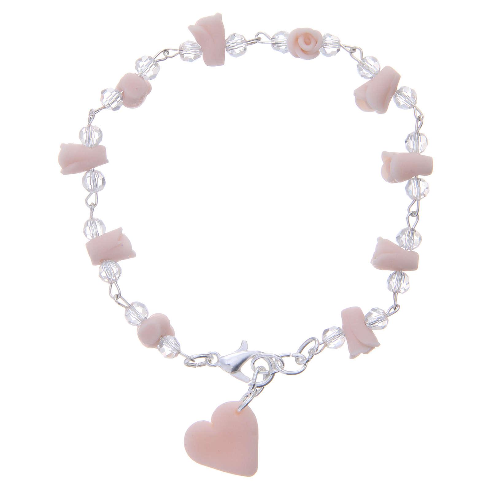 Bracelet Medjugorje rose grains cristal 4