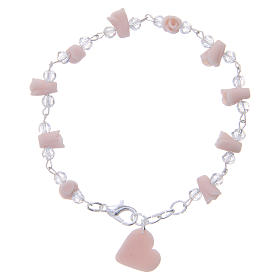 Bracelets, dizainiers: Bracelet Medjugorje rose grains cristal