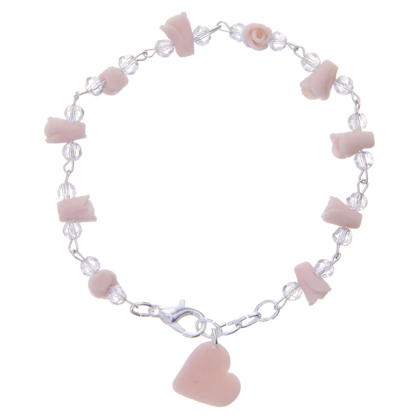 Bracciale Medjugorje rosa grani cristallo 4