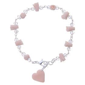 Bracciale Medjugorje rosa grani cristallo s2