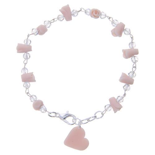 Bracciale Medjugorje rosa grani cristallo 1