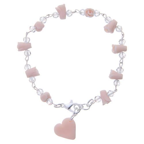Bracciale Medjugorje rosa grani cristallo 2