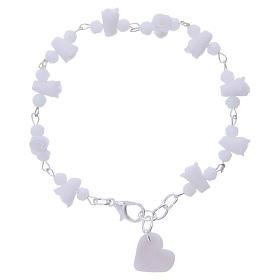 Bracelets, dizainiers: Bracelet Medjugorje grains cristal roses céramique blanc