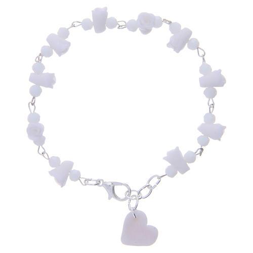 Bracciale Medjugorje grani cristallo rose ceramica bianco 1