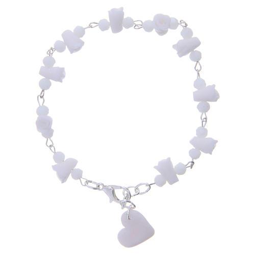 Bracciale Medjugorje grani cristallo rose ceramica bianco 2