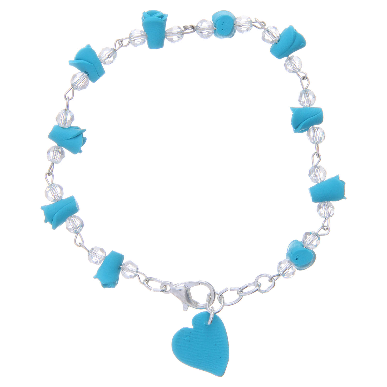 Medjugorje Rosary bracelet, turquoise with crystal beads and ceramic hearts 4