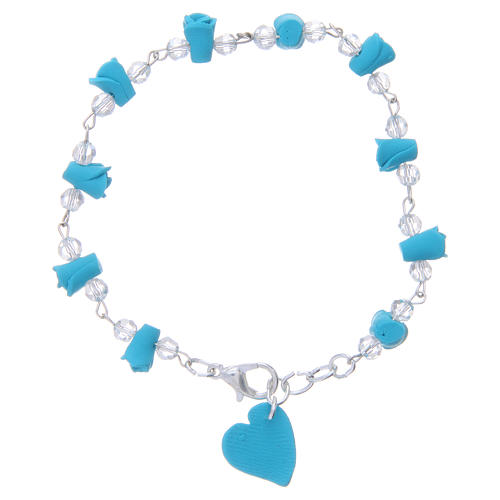 Medjugorje Rosary bracelet, turquoise with crystal beads and ceramic hearts 1