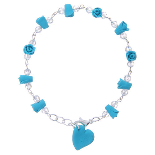 Medjugorje Rosary bracelet, turquoise with crystal beads and ceramic hearts 2