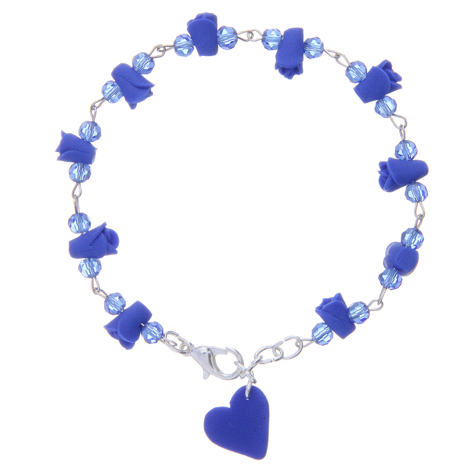 Medjugorje Rosary bracelet, blue with crystal beads and ceramic hearts 4