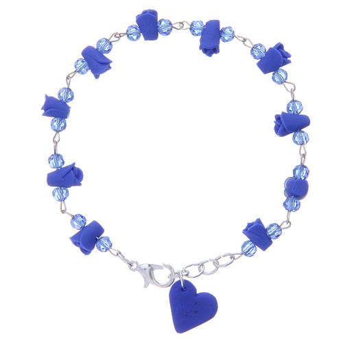 Medjugorje Rosary bracelet, blue with crystal beads and ceramic hearts 1