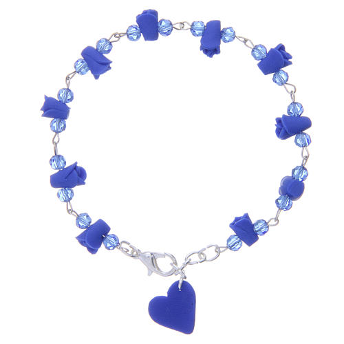 Medjugorje Rosary bracelet, blue with crystal beads and ceramic hearts 2