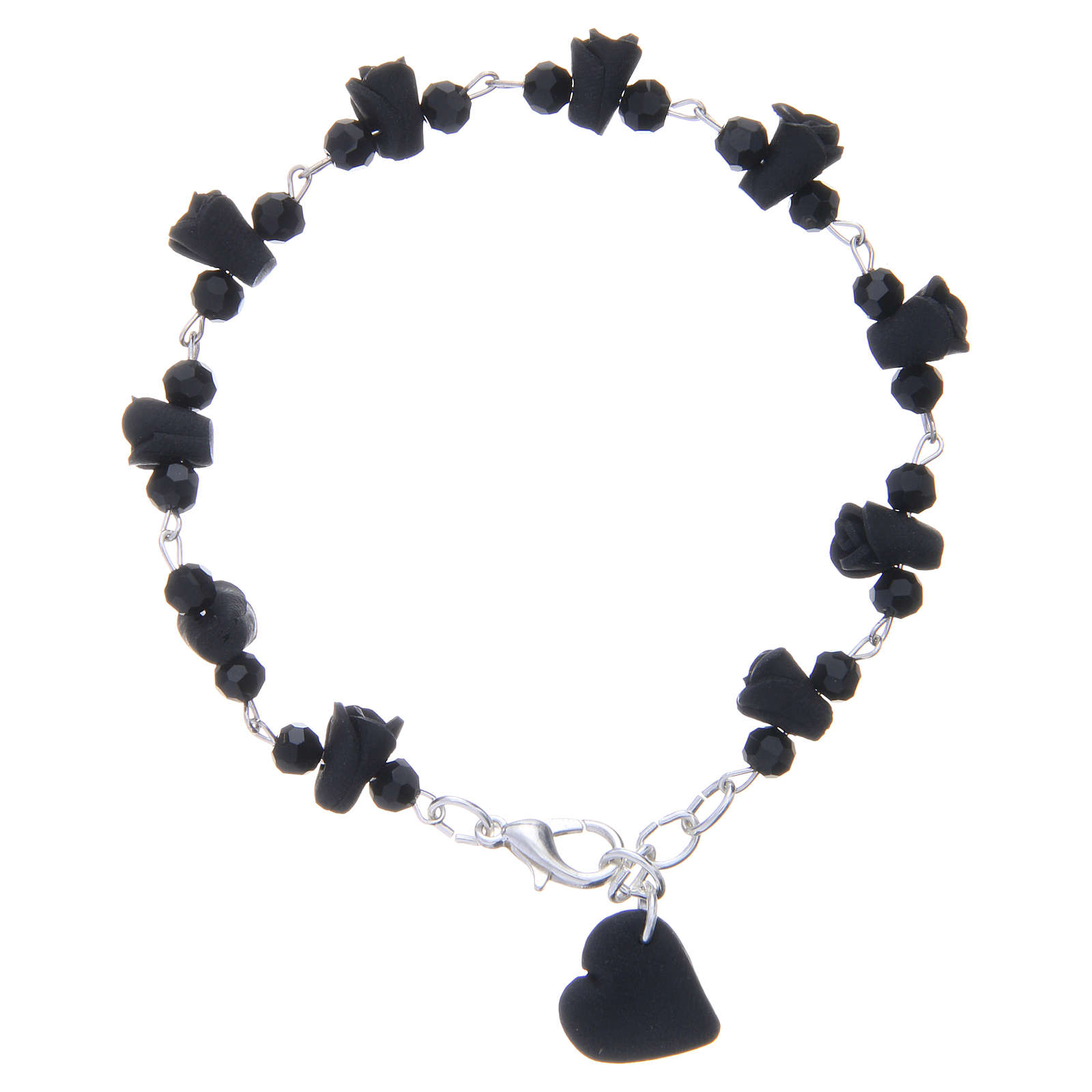Medjugorje Rosary bracelet, black with crystal beads and ceramic hearts 4