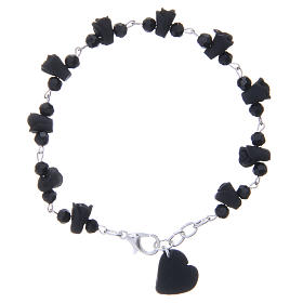 Medjugorje Rosary bracelet, black with crystal beads and ceramic hearts s1