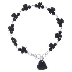 Medjugorje Rosary bracelet, black with crystal beads and ceramic hearts s2